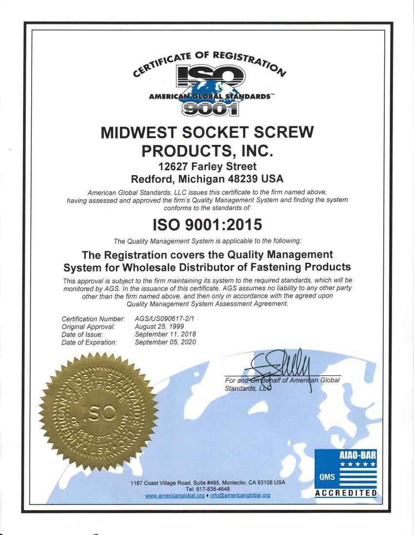 Midwest Socket-ISO Certificate