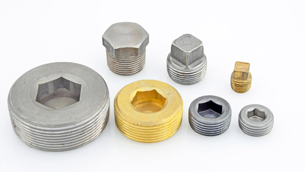 Pipe plugs threaded inserts for sheet metal aluminum